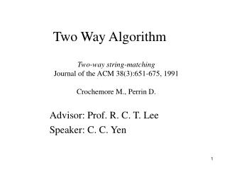 Two Way Algorithm