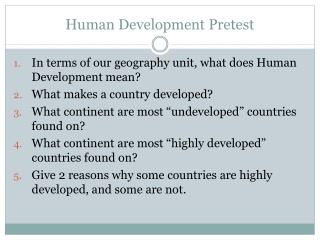 Human Development Pretest