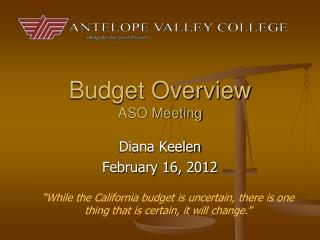 Budget Overview ASO Meeting