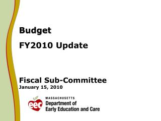 Budget FY2010 Update Fiscal Sub-Committee January 15, 2010