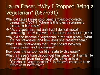 "Laura Fraser, ""Why I Stopped Being a Vegetarian"" (687-691)"