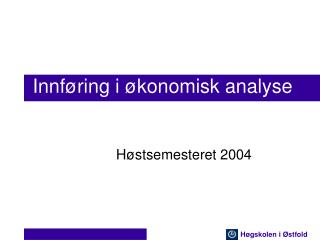 Innf ring i  konomisk analyse