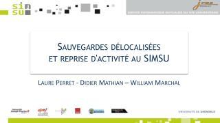 Sauvegardes délocalisées  et reprise d'activité au SIMSU
