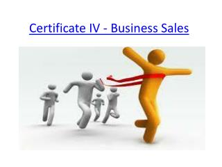 Certificate IV - Business Sales