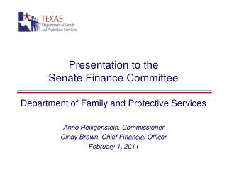 Presentation to the Senate Finance Committee