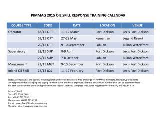 PIMMAG 2015 OIL SPILL RESPONSE TRAINING CALENDAR