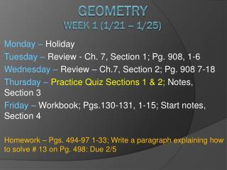 Geometry Week 1 (1/21 – 1/25)
