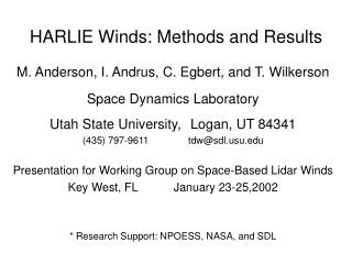 HARLIE Winds: Methods and Results