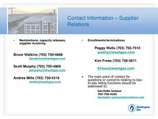 Contact Information – Supplier Relations
