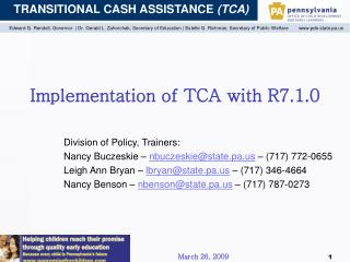 Implementation of TCA with R7.1.0