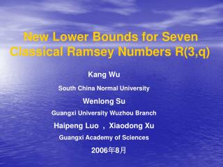 New Lower Bounds for Seven              Classical Ramsey Numbers R(3,q)