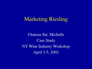Marketing Riesling