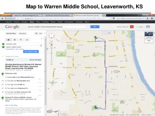 Map to Warren Middle School, Leavenworth, KS