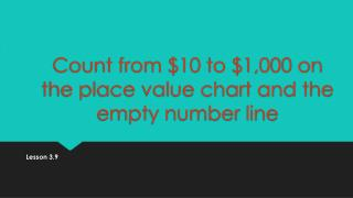 Count from $10 to $1,000 on the place value chart and the empty number  line