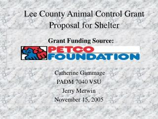 Lee County Animal Control Grant Proposal for Shelter