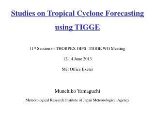 Munehiko Yamaguchi Meteorological Research Institute of Japan Meteorological Agency