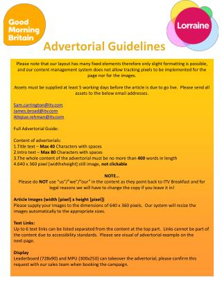 Advertorial Guidelines