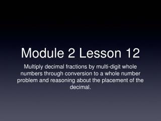 Module 2 Lesson 12