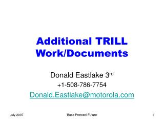 Additional TRILL Work/Documents