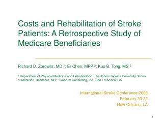 International Stroke Conference 2008 February 20-22 New Orleans, LA
