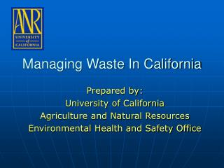 Managing Waste In California