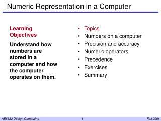 Numeric Representation in a Computer