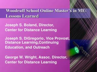 Woodruff School Online Master's in ME: Lessons Learned