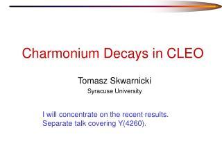 Charmonium Decays in CLEO