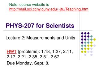 PHYS-207 for Scientists