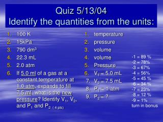 Quiz 5/13/04 Identify the quantities from the units: