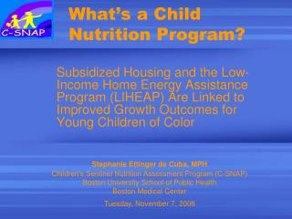 What's a Child Nutrition Program?