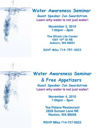 Water Awareness Seminar & Free Appetizers  Guest Speaker Jon Swardstrom