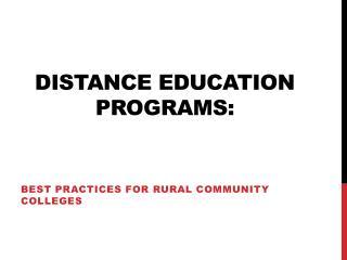 Distance Education Programs: