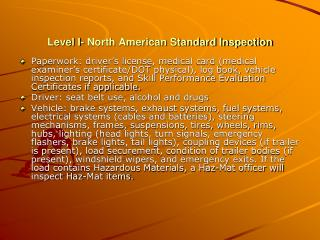 Level I- North American Standard Inspection