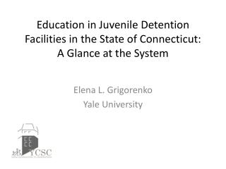 Education in Juvenile Detention Facilities in the State of Connecticut:  A Glance at the System
