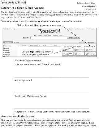Your guide to E-mail Setting Up a Yahoo E-Mail Account