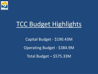 TCC Budget Highlights