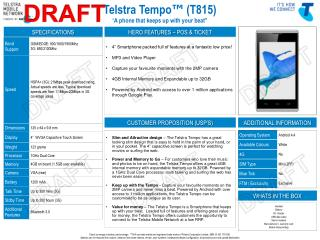 """Telstra Tempo ™  (T815) """" A phone that keeps up with your beat"""""""