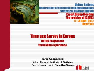 Time use Survey in Europe  HETUS Project and  the Italian experience Tania Cappadozzi