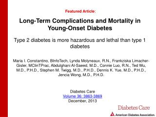Long-Term Complications and Mortality in Young-Onset Diabetes