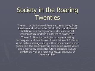 Society in the Roaring Twenties