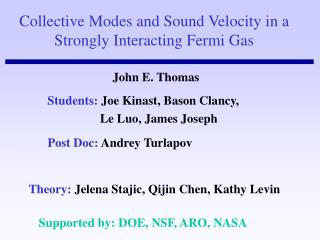 Collective Modes and Sound Velocity in a Strongly Interacting Fermi Gas