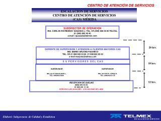 ESCALACION DE SERVICIOS  CENTRO DE ATENCI�N DE SERVICIOS  (CAS) M�RIDA