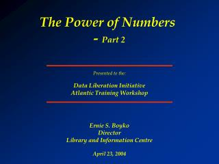 The Power of Numbers  -  Part 2