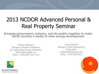 2013 NCDOR Advanced Personal & Real Property  Seminar