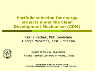 Portfolio selection for energy projects under the Clean Development Mechanism (CDM)