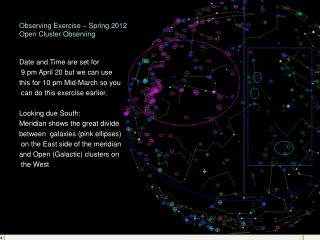Observing Exercise – Spring 2012 Open Cluster Observing