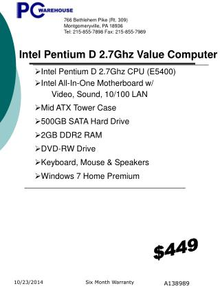 Intel Pentium D  2.7Ghz  CPU ( E5400 ) Intel All-In-One Motherboard w/  Video, Sound, 10/100 LAN