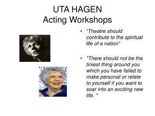 UTA HAGEN Acting Workshops