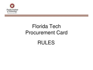 Florida Tech Procurement Card